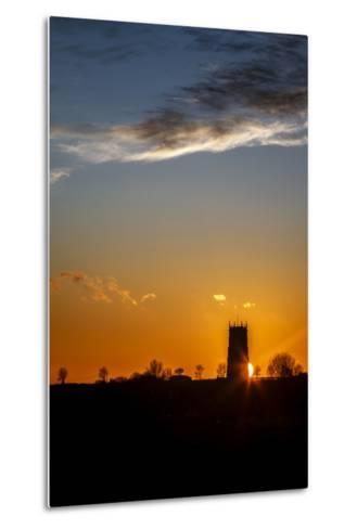 Sunset Behind the Parish Church of the Holy Trinity and All Saints at Winterton on Sea, England-Andrew Sproule-Metal Print