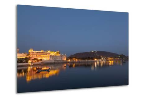City Palace in Udaipur at Night, Reflected in Lake Pichola, Udaipur, Rajasthan, India, Asia-Martin Child-Metal Print