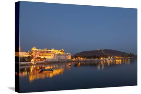 City Palace in Udaipur at Night, Reflected in Lake Pichola, Udaipur, Rajasthan, India, Asia-Martin Child-Stretched Canvas Print