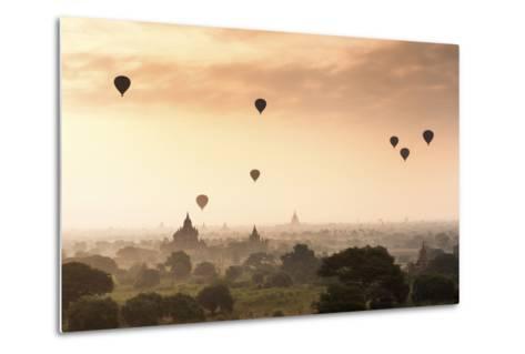 Hot Air Balloons over the Temples of Bagan (Pagan), Myanmar (Burma), Asia-Jordan Banks-Metal Print