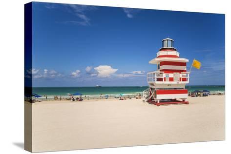 Art Deco Style Lifeguard Hut on South Beach, Ocean Drive, Miami Beach, Miami, Florida, U.S.A.-Gavin Hellier-Stretched Canvas Print