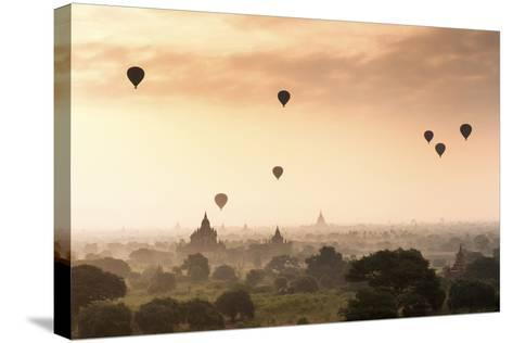 Hot Air Balloons over the Temples of Bagan (Pagan), Myanmar (Burma), Asia-Jordan Banks-Stretched Canvas Print