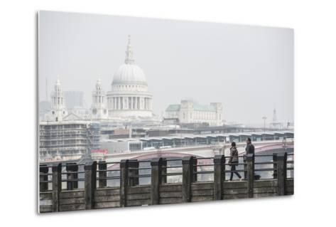 Couple on a Pier Overlooking St. Paul's Cathedral on the Banks of the River Thames, London, England-Matthew Williams-Ellis-Metal Print