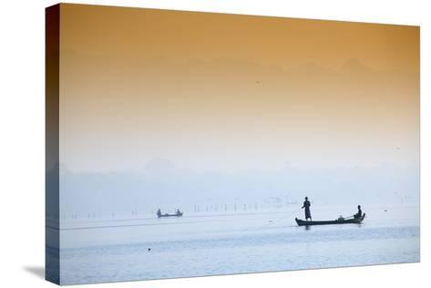 Fishermen on Taungthaman Lake Near Amarapura, Mandalay, Myanmar (Burma), Southeast Asia-Alex Robinson-Stretched Canvas Print