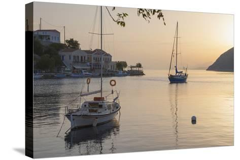 View across the Tranquil Harbour, Dodecanese Islands-Ruth Tomlinson-Stretched Canvas Print