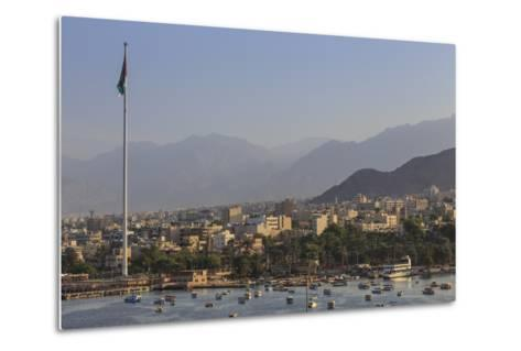 Elevated View of Aqaba Seafront with Huge Jordanian Flag, Middle East-Eleanor Scriven-Metal Print