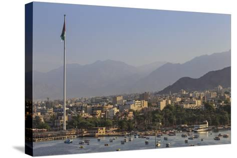 Elevated View of Aqaba Seafront with Huge Jordanian Flag, Middle East-Eleanor Scriven-Stretched Canvas Print