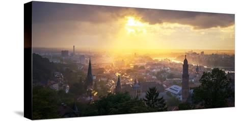 Golden Afternoon Sun Dramatically Breaking Through Rain Clouds over Spires of Heidelberg, Germany-Andy Brandl-Stretched Canvas Print