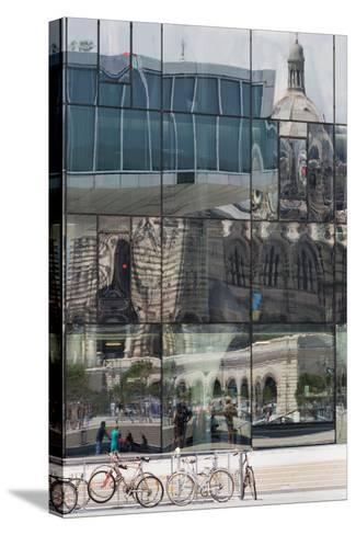 The New Mucem Gallery in Marseille with the Cathedral Reflected in the Glass, Provence, France-Martin Child-Stretched Canvas Print