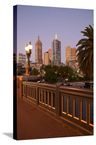 City Skyline from Princes Bridge at Dusk, Melbourne, Victoria, Australia, Pacific-Frank Fell-Stretched Canvas Print