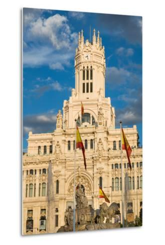 Fountain and Cybele Palace, Formerly the Palace of Communication, Plaza De Cibeles, Madrid, Spain-Martin Child-Metal Print