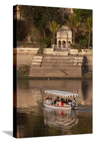 Tourists on a Boat on Lake Pichola in Udaipur, Rajasthan, India, Asia-Martin Child-Stretched Canvas Print