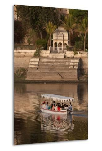 Tourists on a Boat on Lake Pichola in Udaipur, Rajasthan, India, Asia-Martin Child-Metal Print