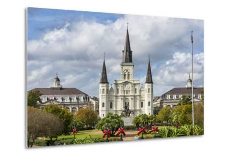 Old Horse Carts in Front of Jackson Square and the St. Louis Cathedral, New Orleans, Louisiana-Michael Runkel-Metal Print