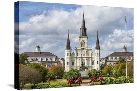 Old Horse Carts in Front of Jackson Square and the St. Louis Cathedral, New Orleans, Louisiana-Michael Runkel-Stretched Canvas Print