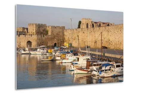 View across Tranquil Kolona Harbour to the City Walls, Dodecanese Islands-Ruth Tomlinson-Metal Print