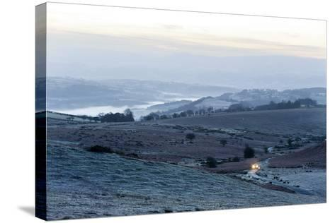 A View at Sunrise Towards the Brecon Beacons National Park, Powys, Wales, United Kingdom, Europe-Graham Lawrence-Stretched Canvas Print