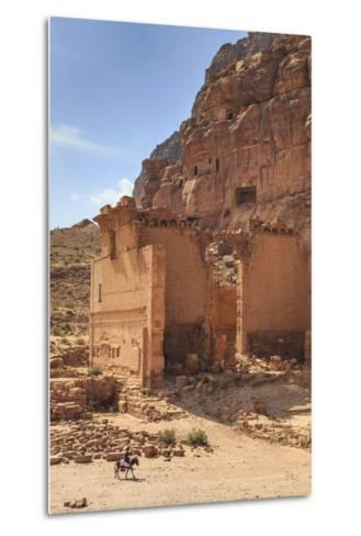 Local Man on Donkey Passes Qasr Al-Bint Temple, Jordan-Eleanor Scriven-Metal Print