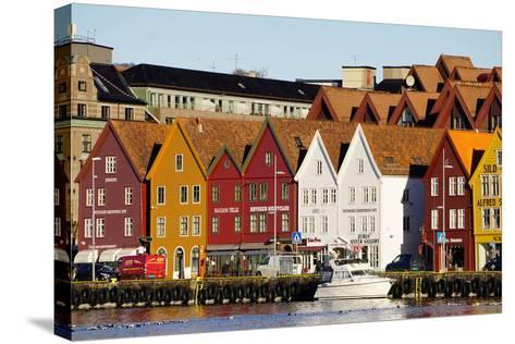 Traditional Wooden Hanseatic Merchants Buildings of the Bryggen, in Harbour, Bergen, Norway-Robert Harding-Stretched Canvas Print