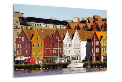 Traditional Wooden Hanseatic Merchants Buildings of the Bryggen, in Harbour, Bergen, Norway-Robert Harding-Metal Print