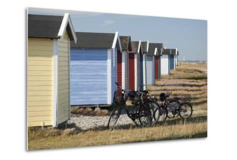 Colourful Beach Huts and Bicycles, South Sweden-Stuart Black-Metal Print