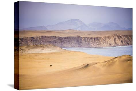 Hikers Hiking in Desert and Sand Dunes, Ica, Peru-Matthew Williams-Ellis-Stretched Canvas Print