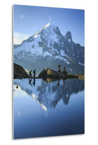 Hikers on the Shores of Lac De Cheserys, French Alps-Roberto Moiola-Metal Print