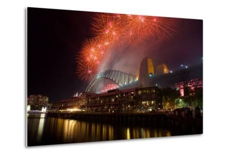Sydney Harbour Bridge and New Years Eve Fireworks, Sydney, New South Wales, Australia, Oceania-Frank Fell-Metal Print