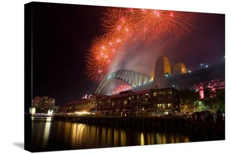 Sydney Harbour Bridge and New Years Eve Fireworks, Sydney, New South Wales, Australia, Oceania-Frank Fell-Stretched Canvas Print