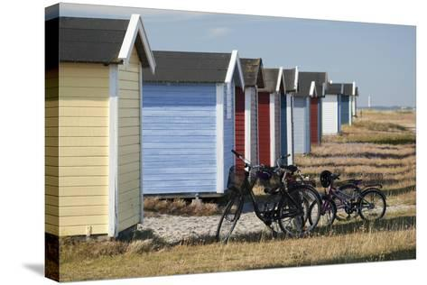 Colourful Beach Huts and Bicycles, South Sweden-Stuart Black-Stretched Canvas Print