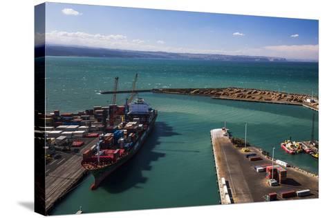 Cargo Ship in Napier Port, Hawkes Bay Region, North Island, New Zealand, Pacific-Matthew Williams-Ellis-Stretched Canvas Print