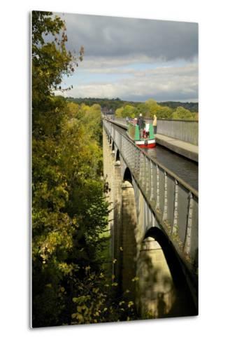 Narrowboat Crossing the River Dee in Autumn on the Pontcysyllte Aqueduct, Denbighshire-Peter Barritt-Metal Print