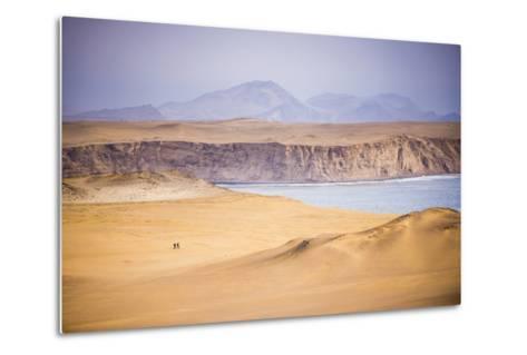 Hikers Hiking in Desert and Sand Dunes, Ica, Peru-Matthew Williams-Ellis-Metal Print