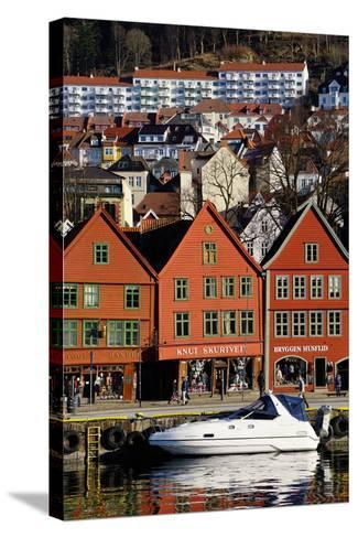 Traditional Wooden Hanseatic Merchants Buildings of the Bryggen, Bergen, Norway, Scandinavia-Robert Harding-Stretched Canvas Print
