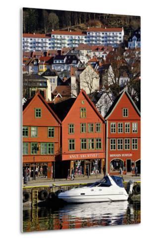 Traditional Wooden Hanseatic Merchants Buildings of the Bryggen, Bergen, Norway, Scandinavia-Robert Harding-Metal Print