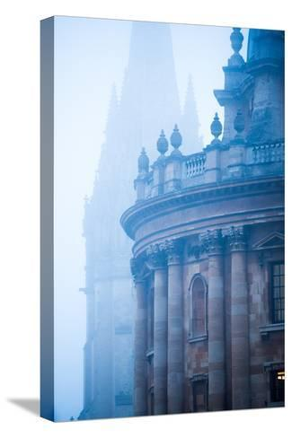 Radcliffe Camera and St. Mary's Church in the Mist, Oxford, Oxfordshire, England, United Kingdom-John Alexander-Stretched Canvas Print