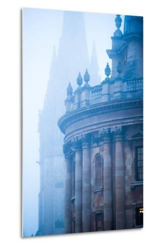 Radcliffe Camera and St. Mary's Church in the Mist, Oxford, Oxfordshire, England, United Kingdom-John Alexander-Metal Print