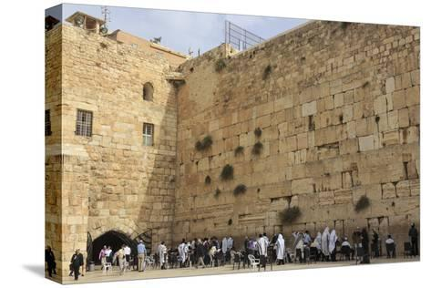 Men's Section, Western (Wailing) Wall, Temple Mount, Old City, Jerusalem, Middle East-Eleanor Scriven-Stretched Canvas Print