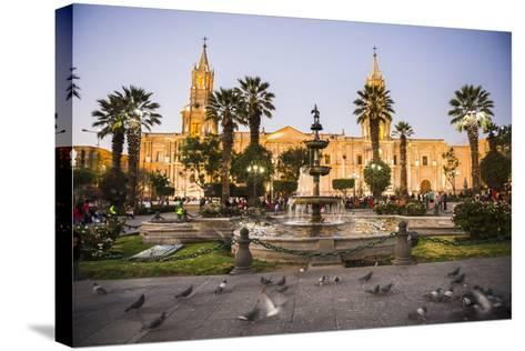 Night at Basilica Cathedral of Arequipa (Basilica Catedral), Plaza De Armas, Arequipa, Peru-Matthew Williams-Ellis-Stretched Canvas Print