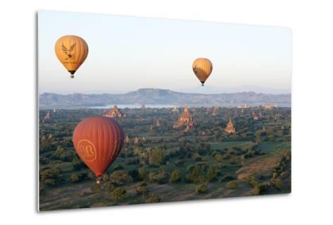 Hot Air Balloons Flying over the Terracotta Temples of Bagan-Annie Owen-Metal Print