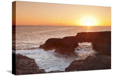 Rock Arch at Sunrise, Charco Manso Bay, Punta Norte Near Echedo, El Hierro, Canary Islands, Spain-Markus Lange-Stretched Canvas Print