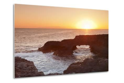 Rock Arch at Sunrise, Charco Manso Bay, Punta Norte Near Echedo, El Hierro, Canary Islands, Spain-Markus Lange-Metal Print