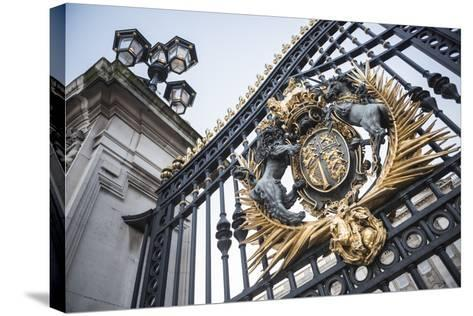 Royal Coat of Arms on the Gates at Buckingham Palace, London, England, United Kingdom, Europe-Matthew Williams-Ellis-Stretched Canvas Print