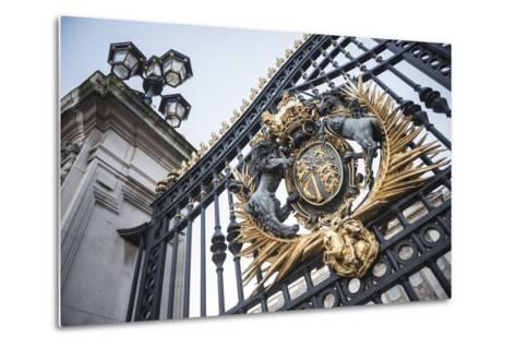 Royal Coat of Arms on the Gates at Buckingham Palace, London, England, United Kingdom, Europe-Matthew Williams-Ellis-Metal Print