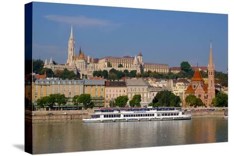 The Capuchin Church and in Foreground Matthias Church and Fishermen's Bastion, Hungary-Carlo Morucchio-Stretched Canvas Print