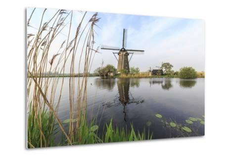 Green Grass Frames the Windmills Reflected in the Canal, Netherlands-Roberto Moiola-Metal Print