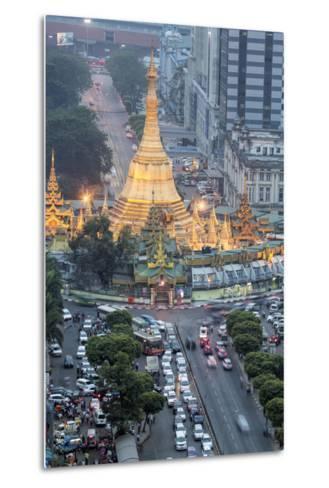 The Sule Paya Pagoda in Rushing Traffic, Downtown Yangon, Myanmar (Burma), Southeast Asia-Alex Robinson-Metal Print