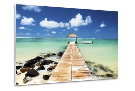 Jetty and Boat on the Turquoise Water, Black River, Mauritius, Indian Ocean, Africa-Jordan Banks-Metal Print