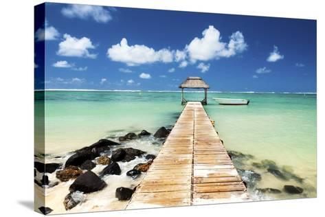 Jetty and Boat on the Turquoise Water, Black River, Mauritius, Indian Ocean, Africa-Jordan Banks-Stretched Canvas Print