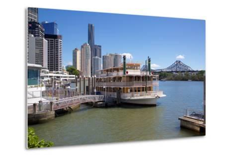 Brisbane River, Story Bridge and City Reach Boardwalk, Brisbane, Queensland, Australia, Oceania-Frank Fell-Metal Print
